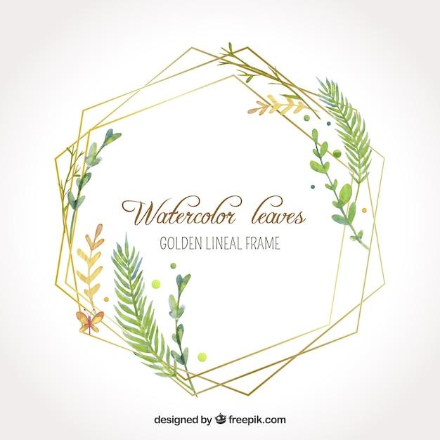Waterverfbladeren in gouden lineair kader Gratis Vector