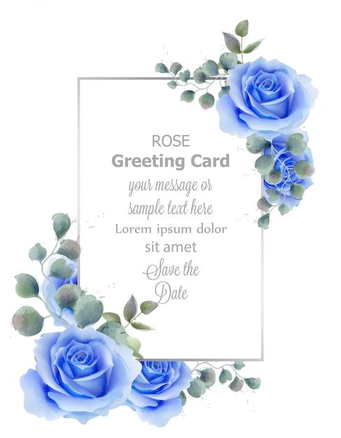 Waterverfblauw nam bloemkaart toe Premium Vector