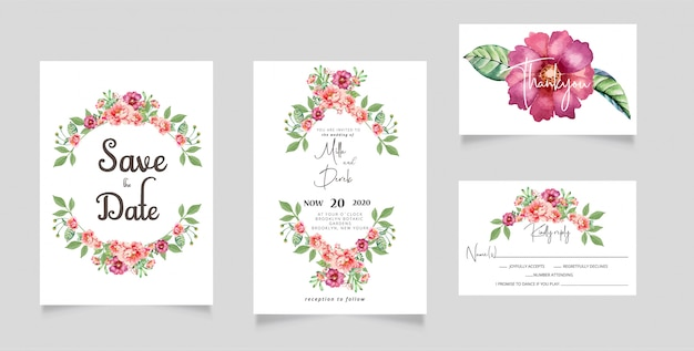 Waterverfbloemen huwelijksuitnodiging rsvp kaart Premium Vector
