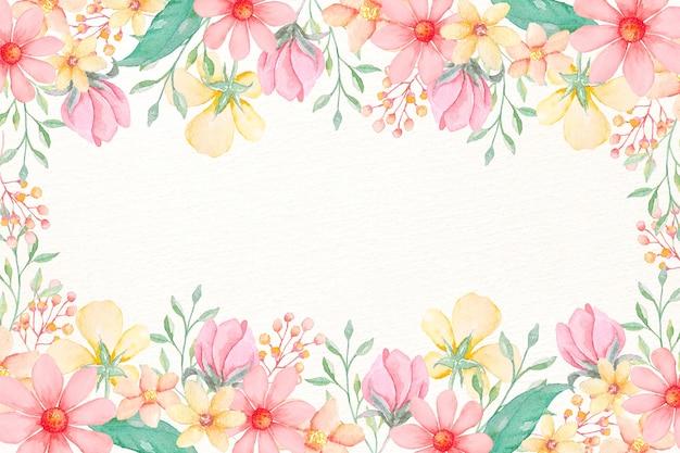 Waterverfbloemenbehang in pastelkleuren Gratis Vector