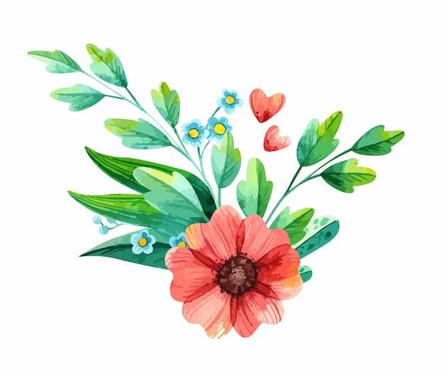 Waterverfbloemstuk met lenteplanten - anemonen en vergeet-mij-nietjes. Gratis Vector