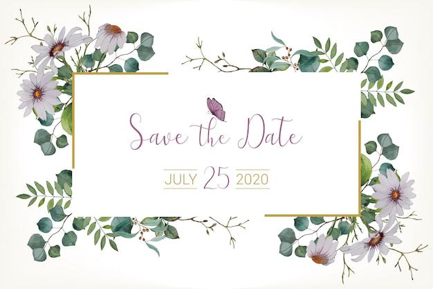 Waterverfhuwelijk bewaar de datumkaart Premium Vector