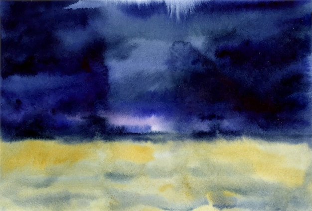 Waterverfillustratie van een schilderachtig mooi tarweveld als achtergrond vóór een onweersbui met donkerblauwe hemel Premium Vector