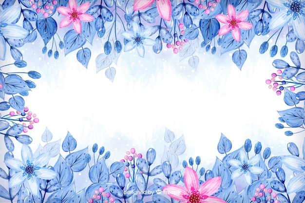 Waterverfkader met roze bloemenachtergrond Gratis Vector