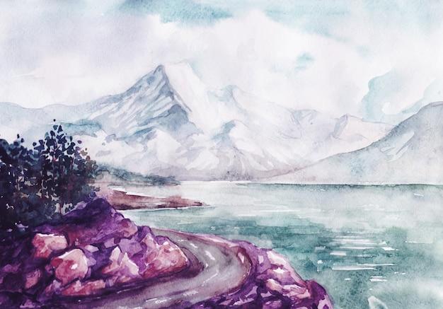 Waterverfrivier en het landschap van de bergenaard Premium Vector