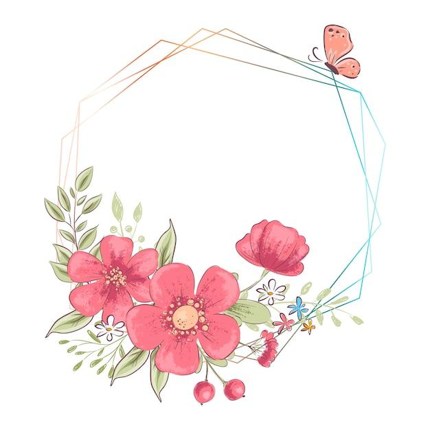 Waterverfsjabloon voor een verjaardag huwelijksviering met bloemen en ruimte voor tekst. Premium Vector