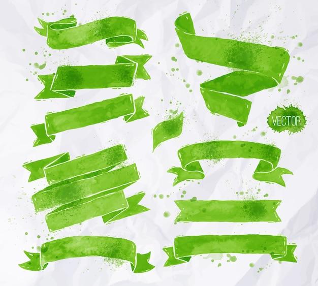 Waterverven linten in groene kleuren Premium Vector