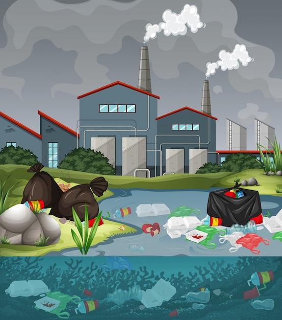 Watervervuiling met plastic zakken in rivier Gratis Vector