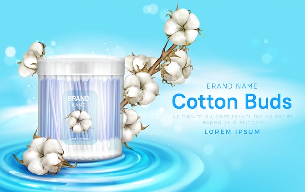 Wattenstaafjes in container en katoenen bloemen Gratis Vector