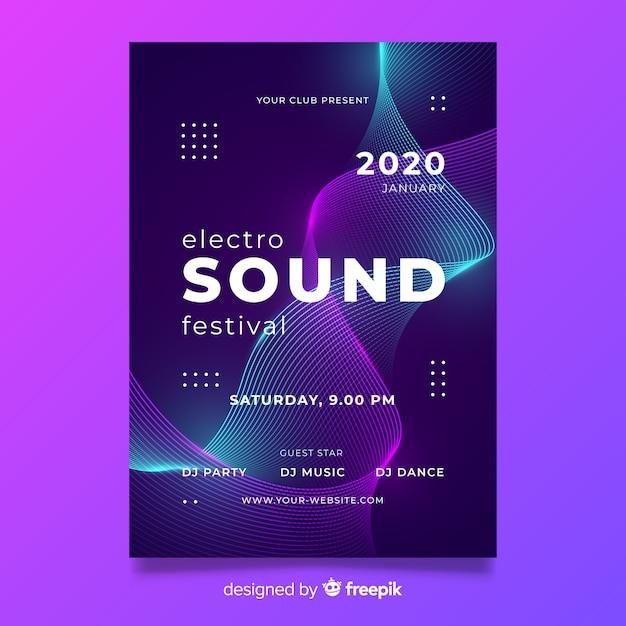 Wave elektronische muziek abstract poster sjabloon Gratis Vector