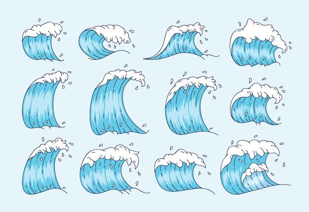 Wave ingesteld in japanse stijl Premium Vector