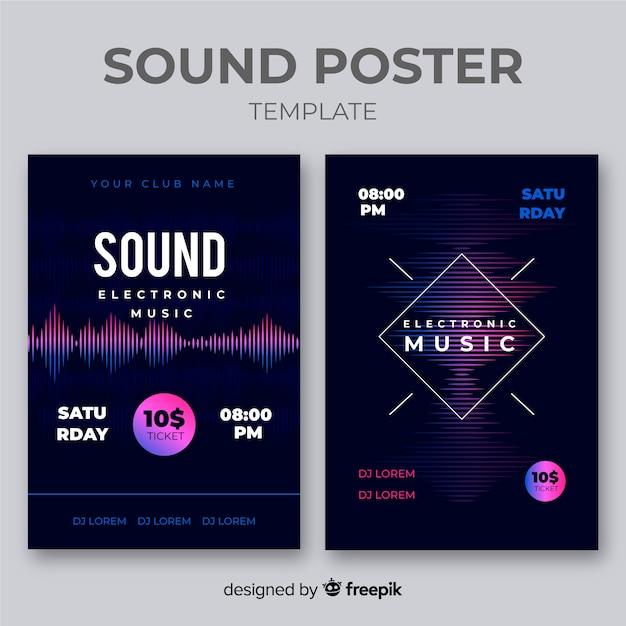 Wave sound elektronische muziekaffiche collectie Gratis Vector