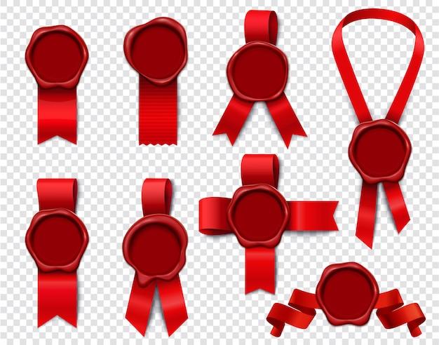 Wax stempel linten set van realistische 3d-geïsoleerde beelden met lege zegels en feestelijk rood lint Gratis Vector