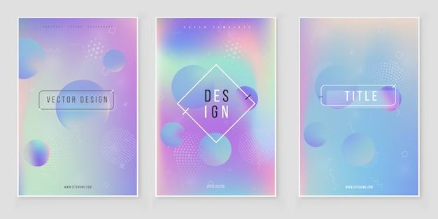Wazig abstracte kleuren achtergrond instellen. trendy modern ontwerp kleurrijke regenbooggradiënt Premium Vector