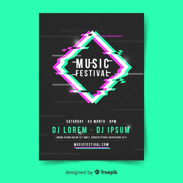 Wazig diamant muziekfestival poster Gratis Vector