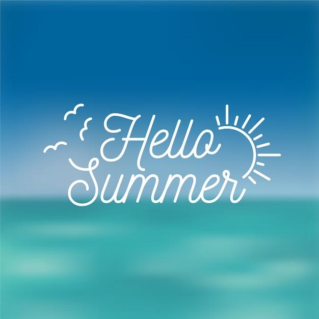 Wazig hallo zomer abstracte zon en meeuwen Gratis Vector