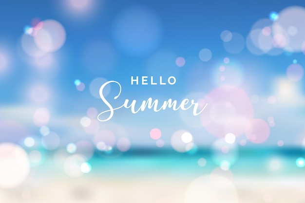 Wazig hallo zomer achtergrond met bokeh effect Gratis Vector