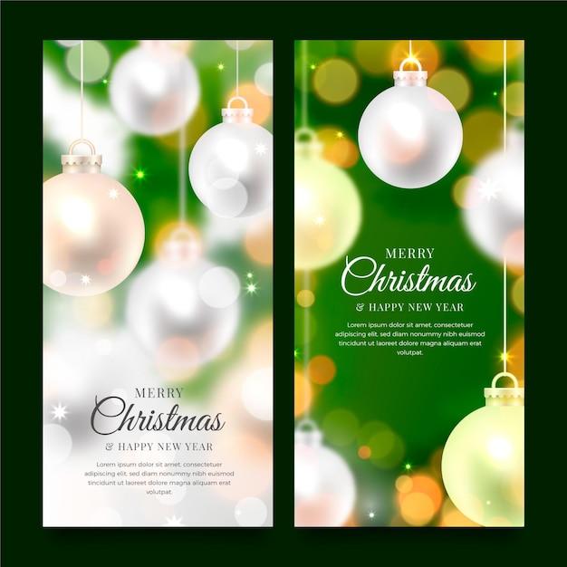 Wazig kerst banners sjabloon Gratis Vector