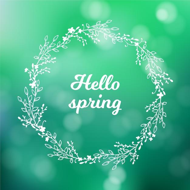 Wazig lente achtergrondthema Gratis Vector