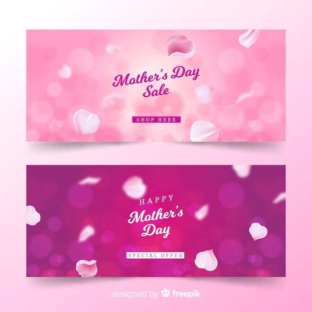 Wazig moederdag banners Gratis Vector