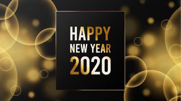 Wazig nieuw jaar 2020 achtergrondsjabloon Premium Vector