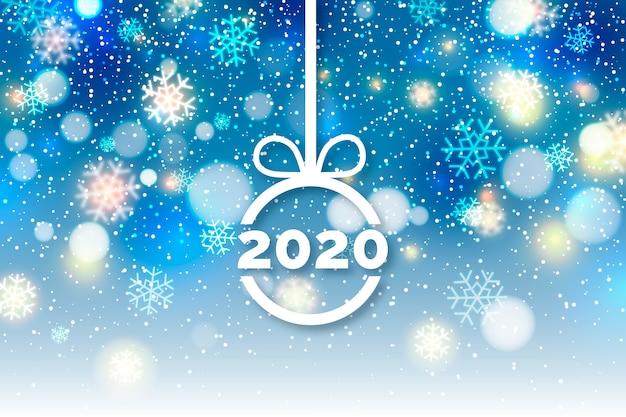 Wazig nieuw jaar 2020 Gratis Vector