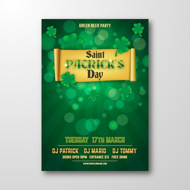 Wazig ontwerp st. patrick's day flyer Gratis Vector