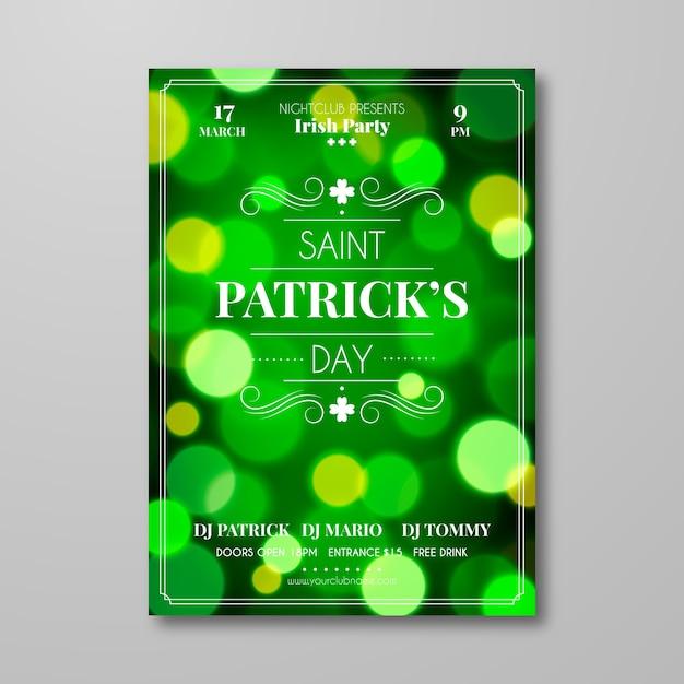 Wazig ontwerp st. patrick's day sjabloon folder Gratis Vector