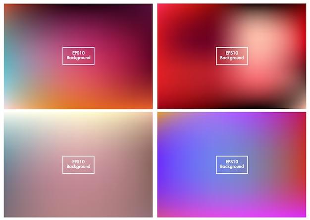 Wazig set abstracte achtergrond kleurrijke verloopnet eps10 vector 3 Premium Vector