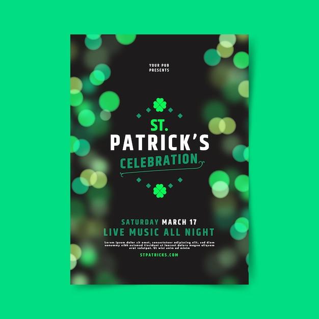 Wazig st. patrick's day sjabloon folder Gratis Vector