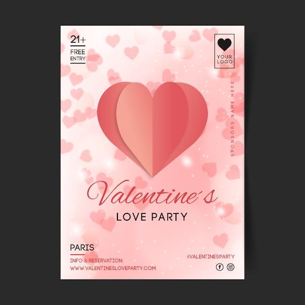 Wazig valentijnsdag partij flyer / poster Gratis Vector