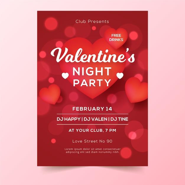 Wazig valentijnsdag partij poster Gratis Vector