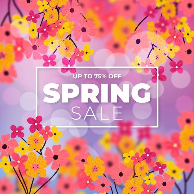 Wazig voorjaar verkoop ontwerp Premium Vector
