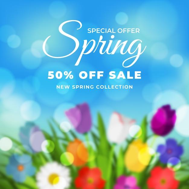 Wazig voorjaarsuitverkoop met speciale aanbieding Gratis Vector