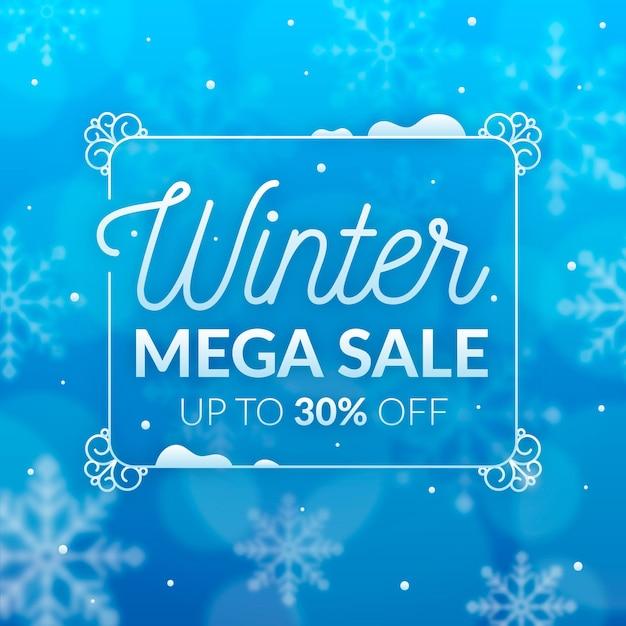 Wazig winter super verkoop in een frame Premium Vector