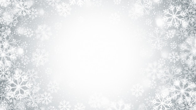 Wazige beweging vliegende sneeuwvlokken abstracte kerstdecoratie op lichte zilveren achtergrond Premium Vector