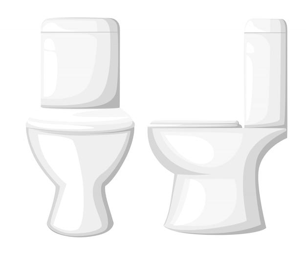 Wc-pot, papier en penseel op blauwe achtergrond. stijl illustratie. wc-pot platte cartoon icoon, voor- en zijaanzicht. website-pagina en mobiele app Premium Vector