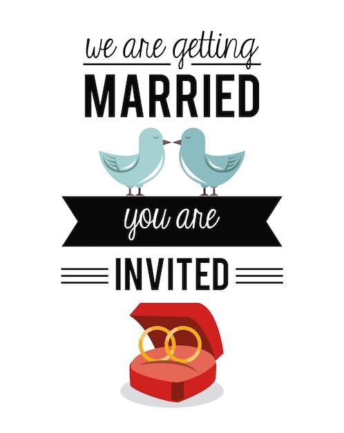 We gaan trouwen met trouwringen en duiven Premium Vector