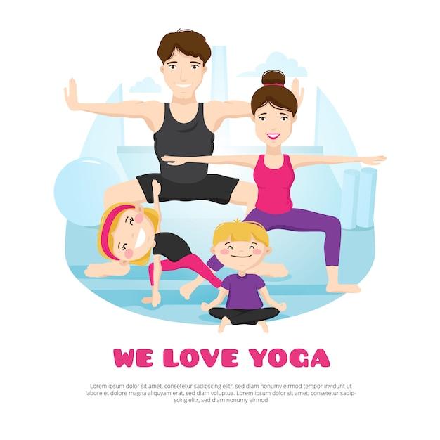 We houden van yoga-wellnesscentrumposter met een jong gezin dat asana's beoefent Gratis Vector