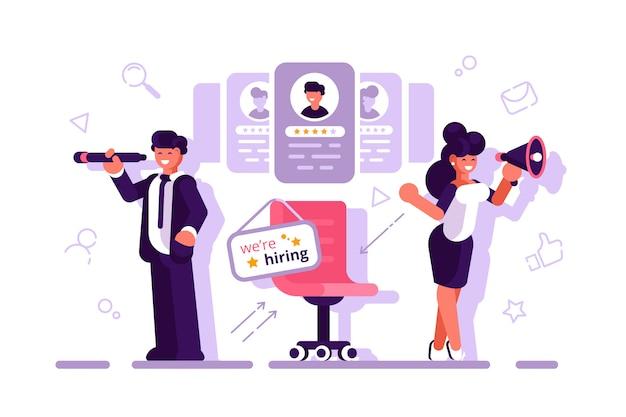 We huren concept met karakter. wervingsconcept voor webpagina. job, wervingsbureau. personeelszaken. cv's invullen, medewerkers aannemen, mensen formulier invullen. platte vector. zakenman Premium Vector