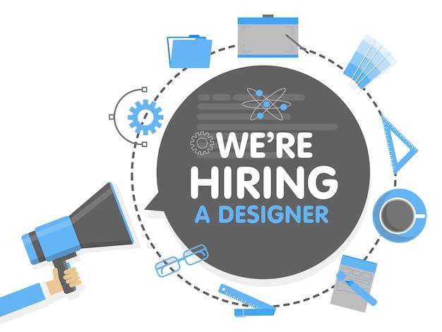 We huren een ontwerper in. megafoon concept vectorillustratie. bannersjabloon, advertenties, zoeken naar werknemers, inhuren van grafische kunstenaar voor werk Premium Vector