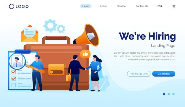 We huren landingspagina website illustratie vector sjabloon Premium Vector