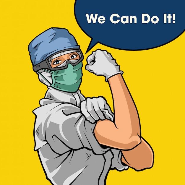 We kunnen het!. strijd tegen corona-virusziekte. illustratie Premium Vector