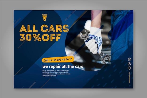 We repareren alle auto's mechanische banner Premium Vector