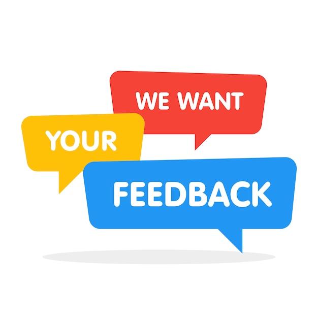 We willen uw feedback tekstballonnen op wit Premium Vector