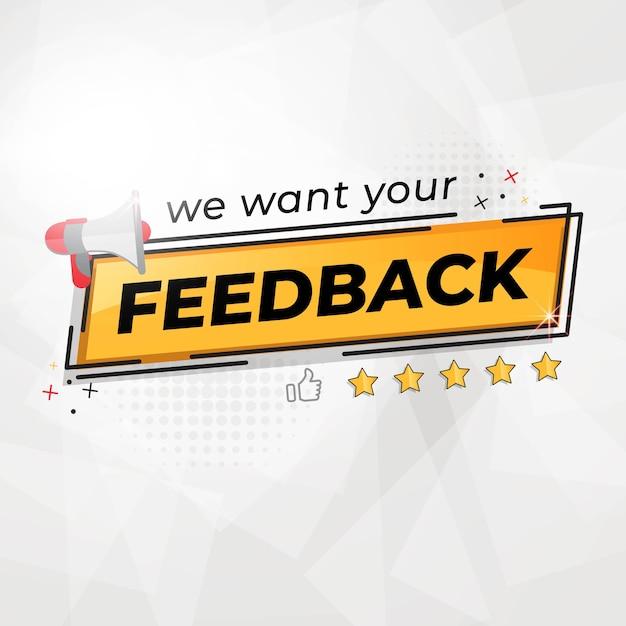 We willen uw feedbackbanner Premium Vector