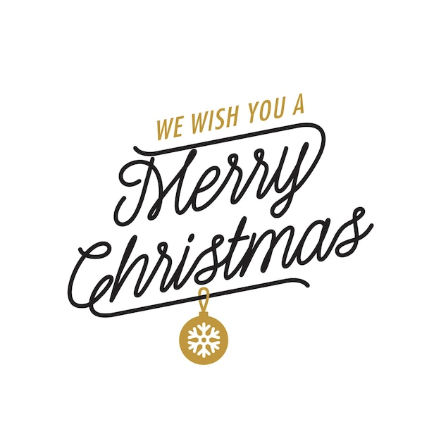 We wish you merry christmas lettering Gratis Vector