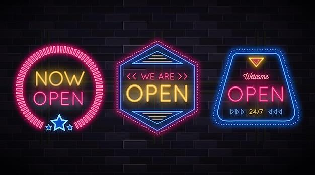 We zijn open en terug in zakelijke neonreclame Gratis Vector