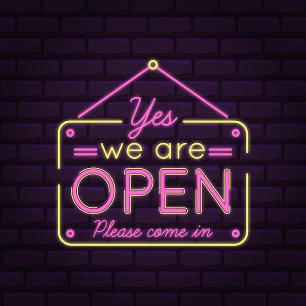 We zijn open in roze neonlichten Gratis Vector