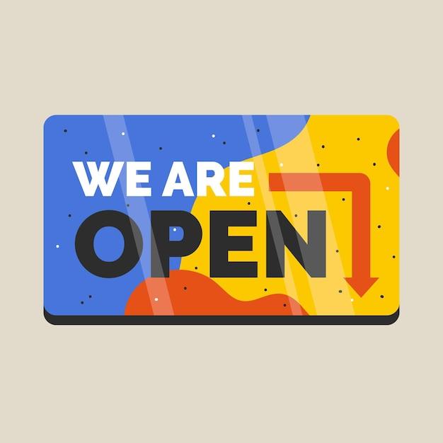 We zijn open teken Gratis Vector